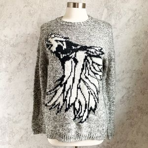 Forever 21 Eagle Graphic Tunic Sweater Thick Knit